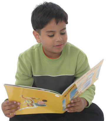 Hispanic boy reading