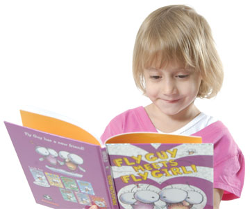 petite girl reading